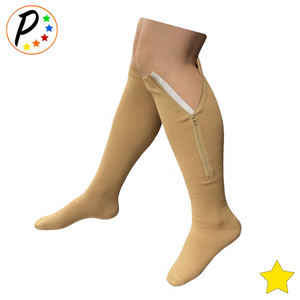 Closed Toe 8-15 mmHg Mild Zipper Compression Leg Calf Circulation Support Socks