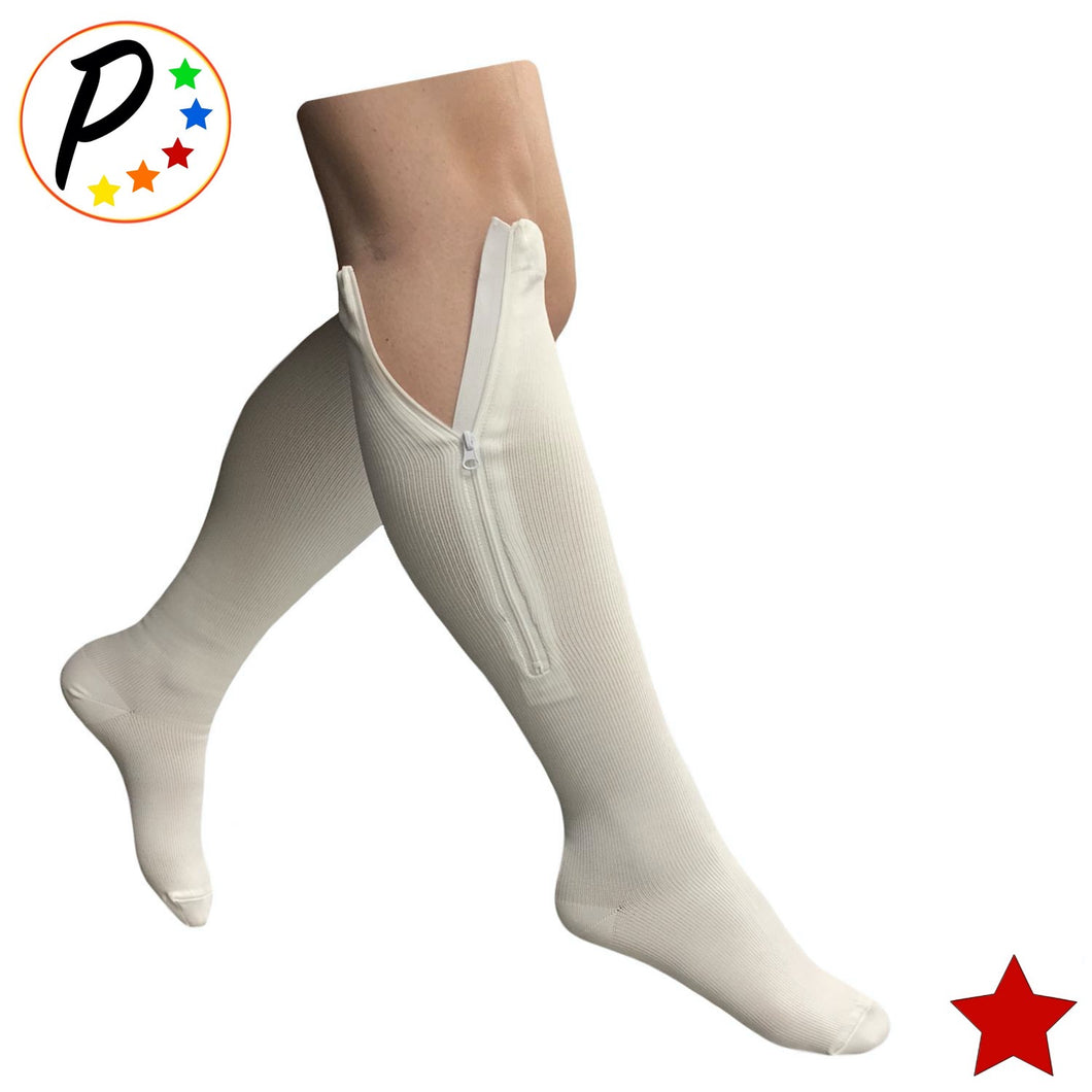 (BIG & TALL) Original White Closed Toe 20-30 mmHg Firm Compression Veins Relief Socks