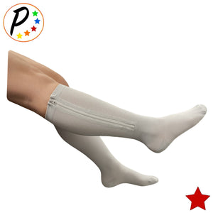 Closed Toe 20-30 mmHg Firm Zipper Compression Leg Swelling Circulation Grey Socks