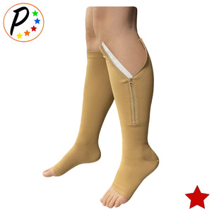 Original Open Toe 20-30 mmHg Firm Zipper Compression Leg Swelling Knee High Socks