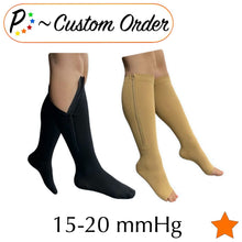 Load image into Gallery viewer, Senior's 15-20 mmHg Zipper Moderate Compression Leg Calf Open/Closed Toe Mix & Match Socks