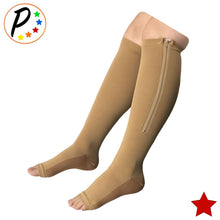 Load image into Gallery viewer, Copper Infused 20-30 mmHg Firm Zipper Compression Long Knee Length Open Toe Socks