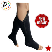 Load image into Gallery viewer, Original Open Toe 20-30 mmHg Firm Zipper Compression Leg Swelling Knee High Socks