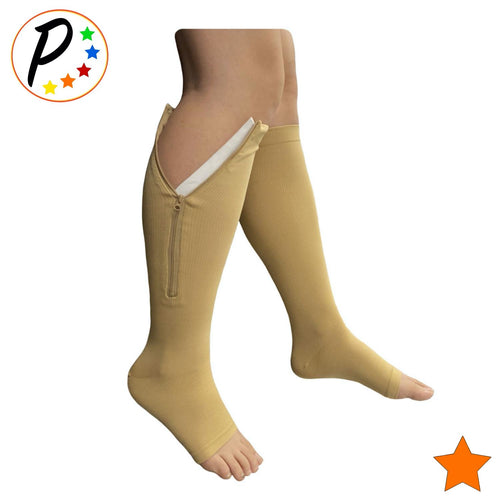 (BIG & TALL) Open Toe 15-20 mmHg Zipper Moderate Compression Circulation Knee Length Socks