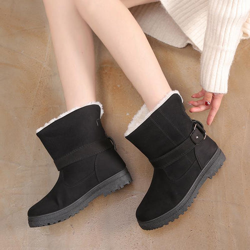 Women Winter Fashion Suede Martin Casual Flat BootsWarm Belt Buckle Ankle Boot