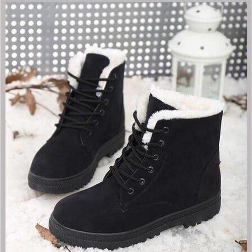 Women Warm Fur Lined Snow Boots Casual Short Boots 118696