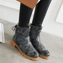 Load image into Gallery viewer, Women Chunky Heel Lace-Up Fur Lined Snow Boots