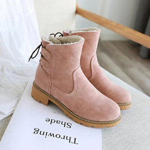 Women Chunky Heel Lace-Up Fur Lined Snow Boots