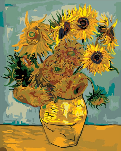 Sunflowers-Painting by numbers van Gogh