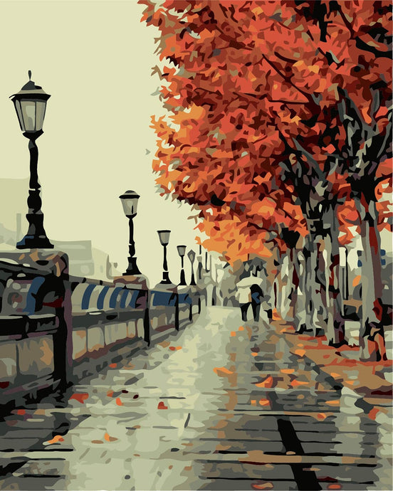 After the autumn rain road-painting by numbers