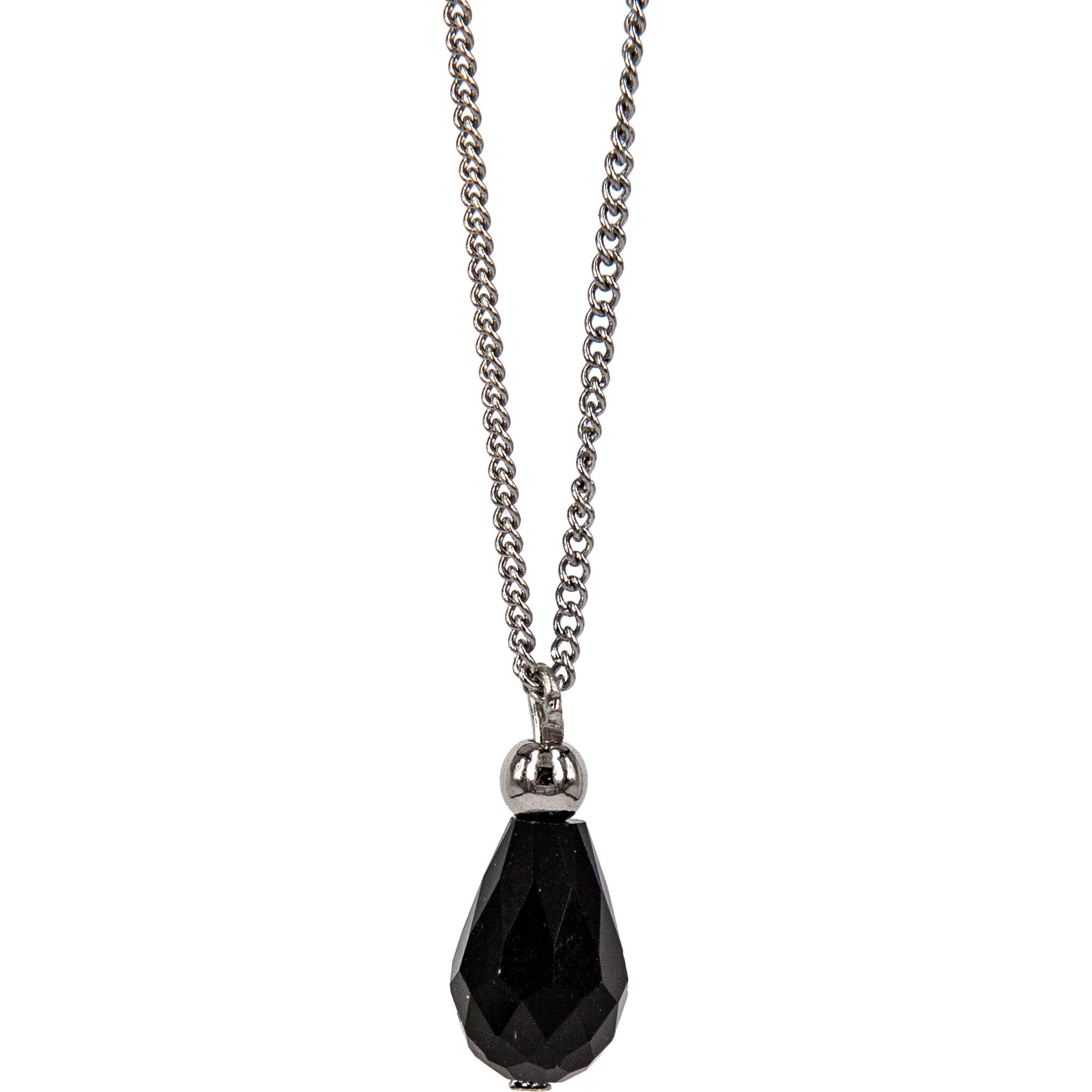 CRYSTAL DROP PENDANT STEEL CHAIN 45CM
