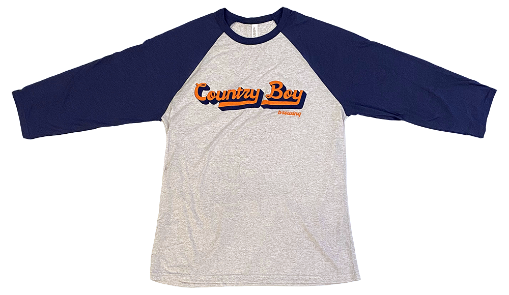 T-Shirt - 3/4 Sleeve Retro Country Boy Brewing - Light Gray/Royal Blue
