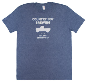 T-Shirt - Country Boy Brewing With Truck - Heather Blue