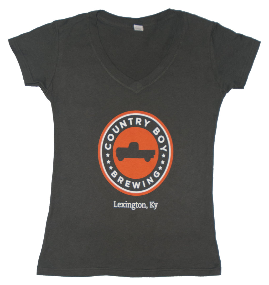 T-Shirt - Ladies Logo V-Neck - Gray
