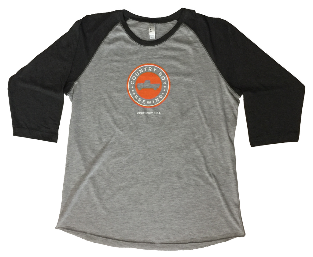 T-Shirt - Ladies 3/4 Sleeve Logo Baseball - Light and Dark Heather Gray