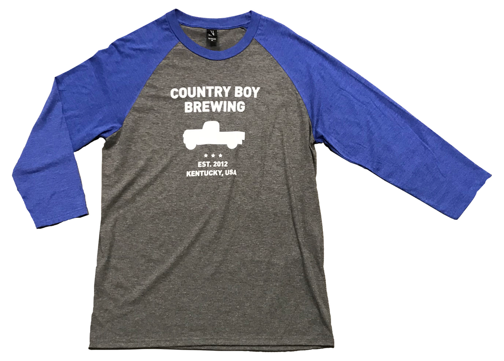 T-Shirt - 3/4 Sleeve Country Boy Brewing With Truck - Heather Blue/Gray