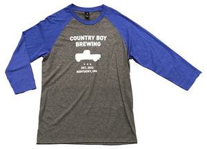 NEW!! - T-Shirt - 3/4 Sleeve Country Boy Brewing With Truck - Heather Blue/Gray