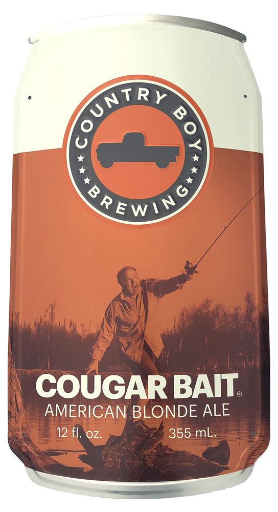 Curved Cougar Bait Can Metal Sign