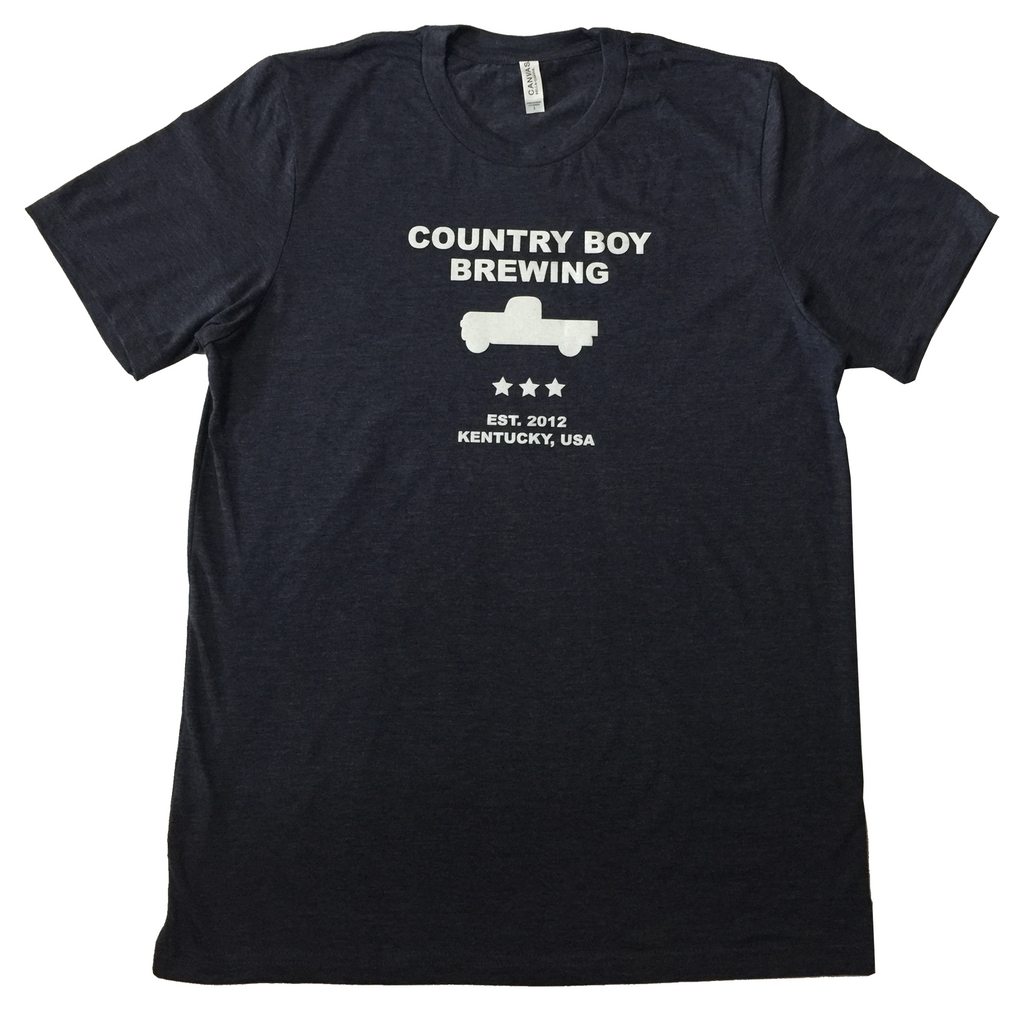 T-Shirt - Country Boy Brewing With Truck - Midnight Navy Heather