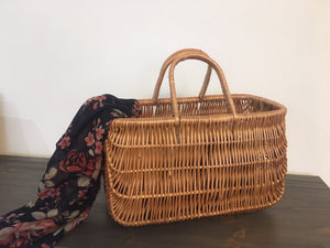 Wicker Shopping Basket and Floral Bag