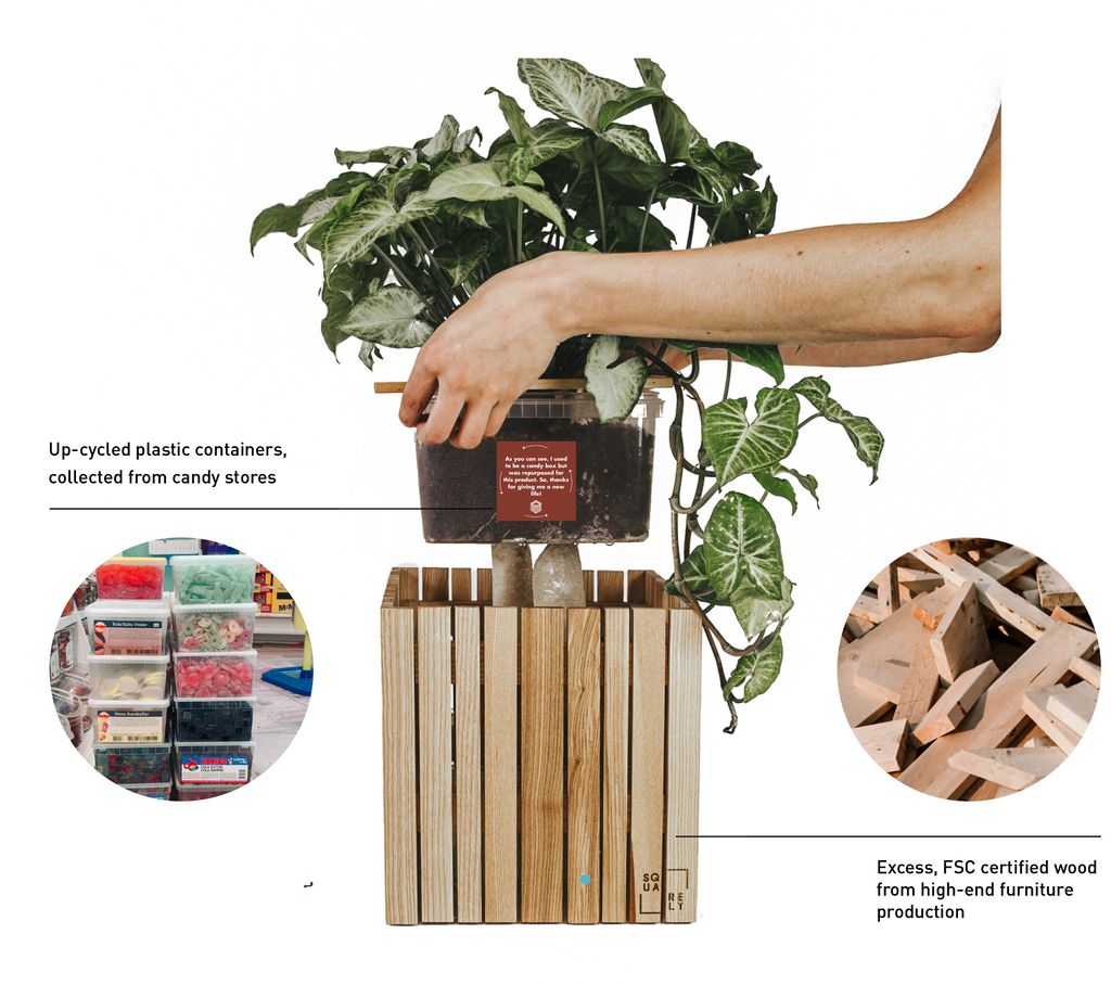 Sustainable Danish design self-watering wooden plant boxes, made using up-cycled, high-quality materials