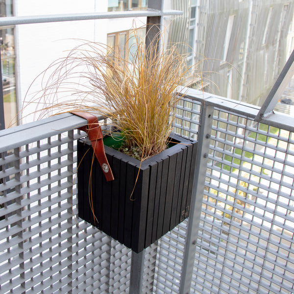 self-watering balcony planter black wood
