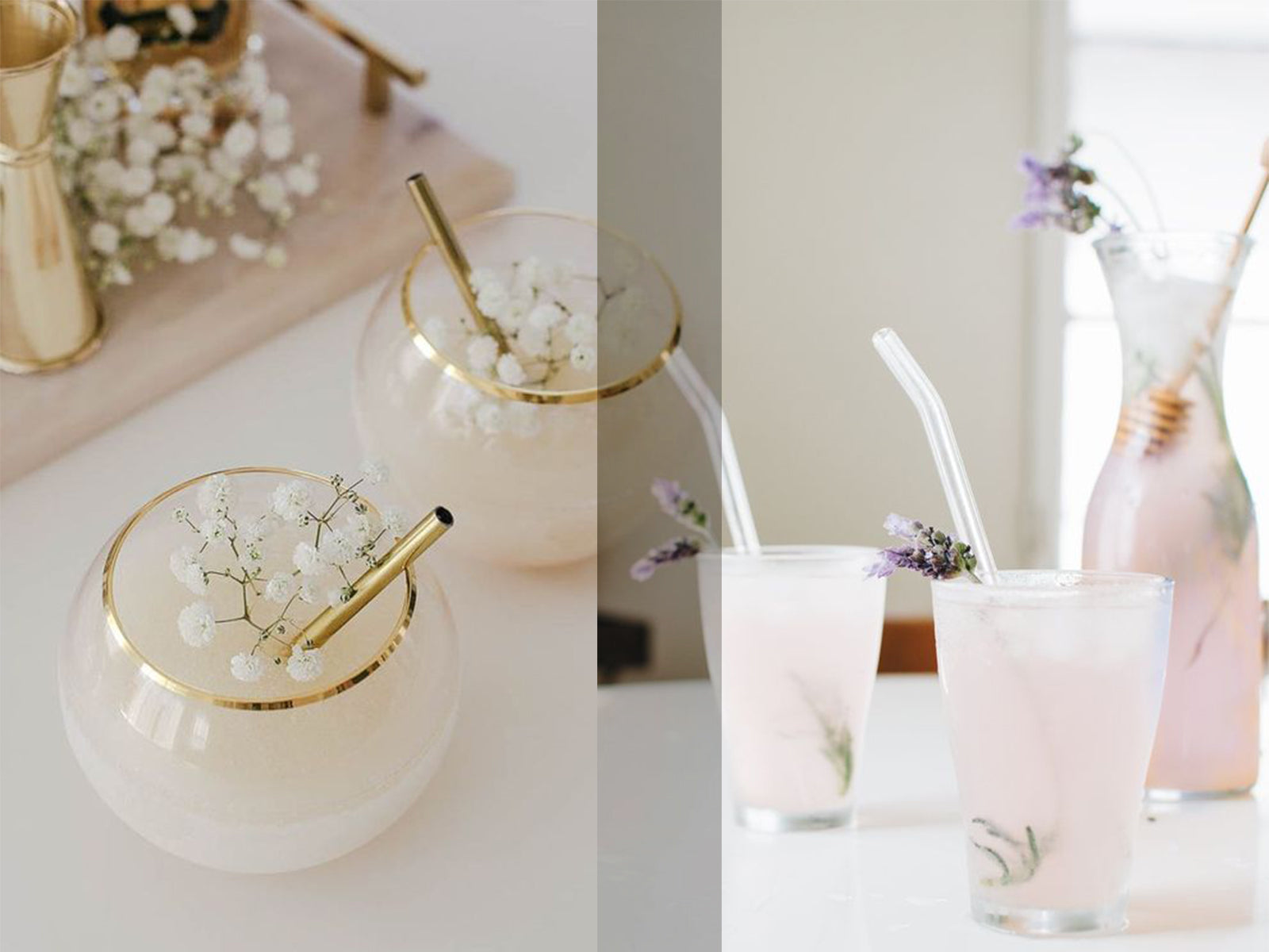Glas oder metal straws are not only the more elegant but also more sustainable choice