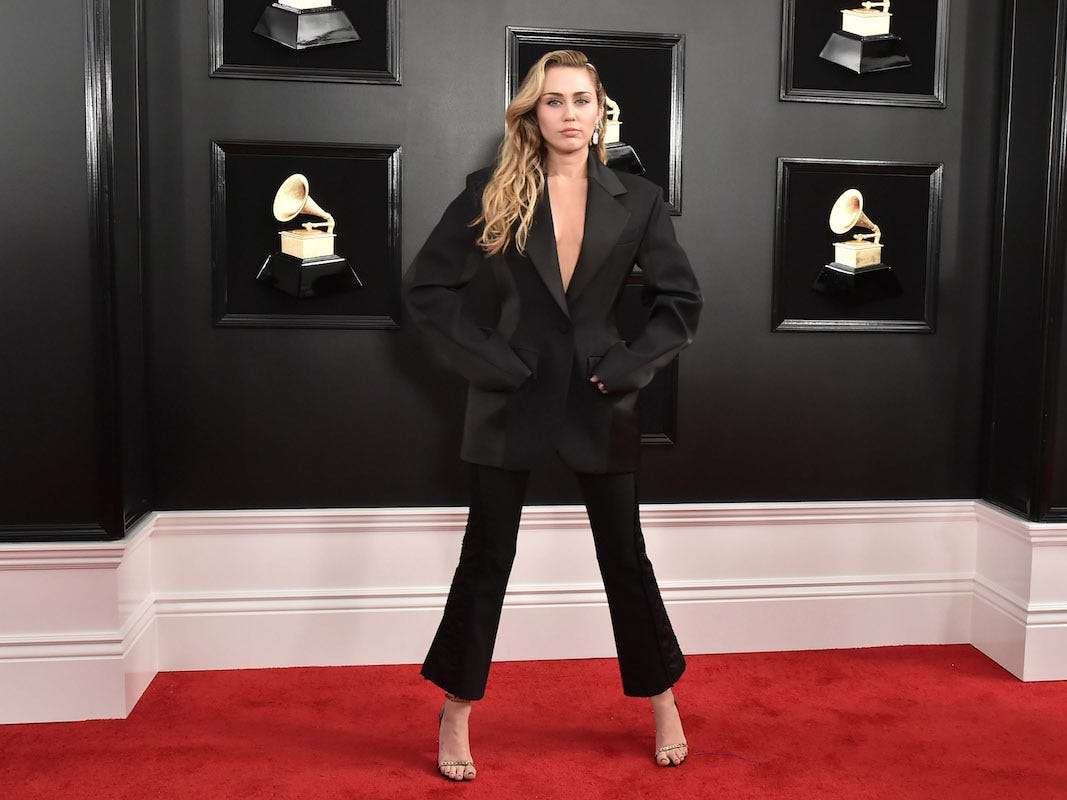 Miley Cirus at the Grammys wearing Mink Shoes vegan High-heels