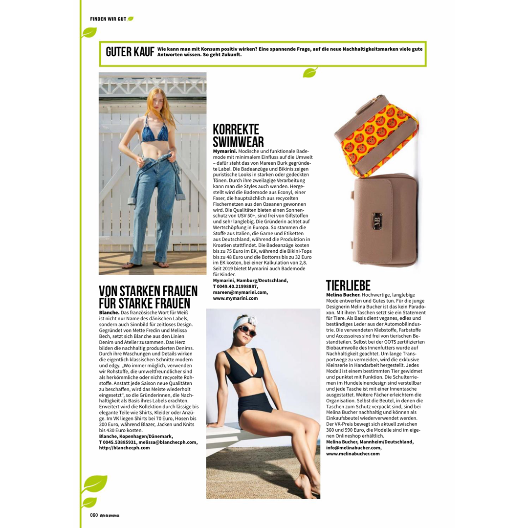 Link to article about Melina Bucher vegan bags in Style in Progess in German