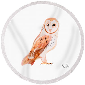 Owl  - Round Beach Towel