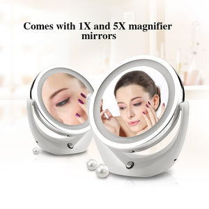 Rechargeable USB Makeup Mirror Dual-side 1 to 5X