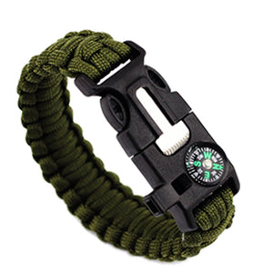 Outdoor Survival Bracelet with Compass Whistle Knife and Braided Paracord