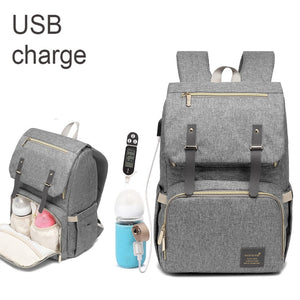 Large Capacity Diaper Bag USB Baby Nappy Bag Backpack Waterproof Casual Laptop Bag USB Charging Keeps Babys Milk Warm