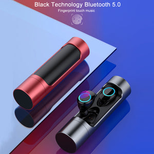 Fingerprint Touch Control Wireless Bluetooth V5.0 Earbuds Sports In-ear Waterproof Earphone With 800mAh Charging Box