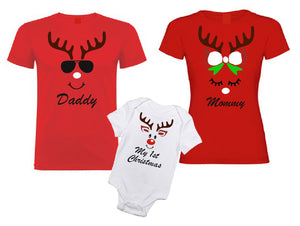 My 1st Christmas Reindeer white black baby bodysuit onesie-baby bodysuit onesie-DiamondsKT