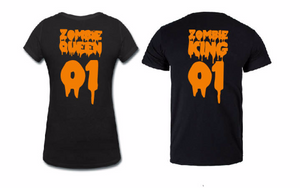 Zombie King Queen 01 Couple Family matching outfit T shirt-men woman T shirts-DiamondsKT