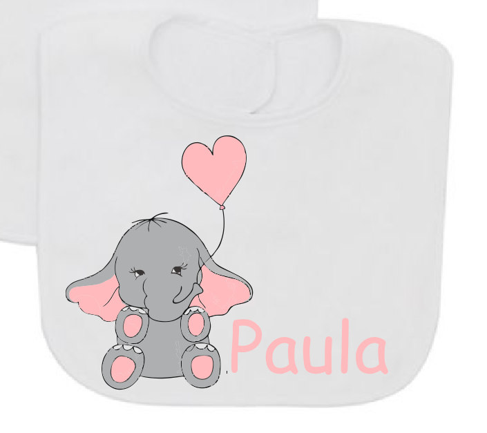 Baby elephant light pink personalizated with baby name baby bib-Baby Bibs-DiamondsKT