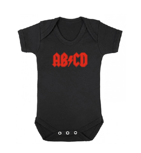 AB⚡CD white black baby bodysuit / onesie-baby bodysuit onesie-DiamondsKT