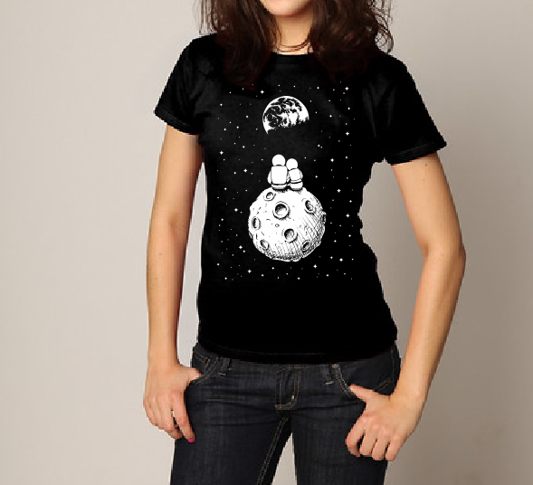Astronaut couple on the moon T shirt-men woman T shirts-DiamondsKT