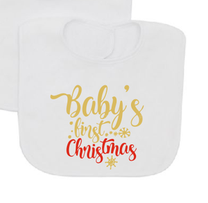 Baby's first Christmas Bib-Baby Bibs-DiamondsKT
