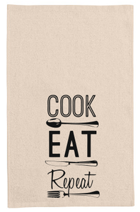 Cook Eat Repeat kitchen tea towel-kitchen towels-DiamondsKT