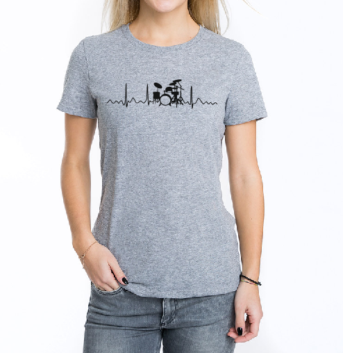Drummer heartbeat heartline T shirt-men woman T shirts-DiamondsKT