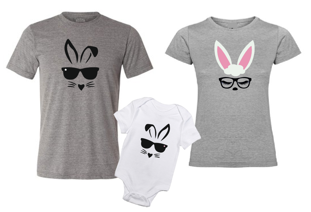 Easter Bunny Family matching outfit T shirts-men woman T shirts-DiamondsKT