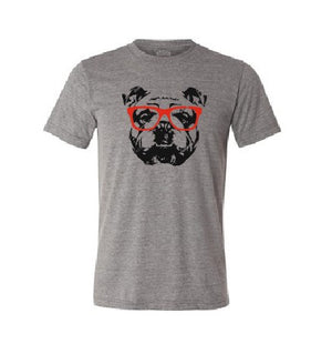 English Bulldog with red sunglasses T shirt-men woman T shirts-DiamondsKT