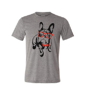 French Bulldog with red sunglasses and bow tie T shirt-men woman T shirts-DiamondsKT
