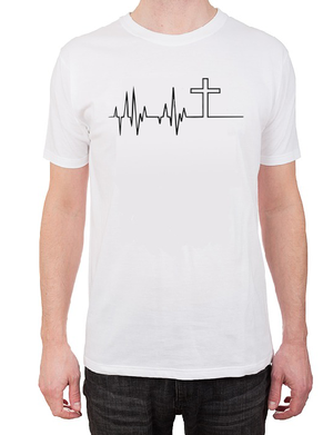 Heartbeat Cross T shirt-men woman T shirts-DiamondsKT