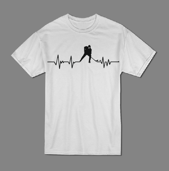 Hockey heartbeat T shirt-men woman T shirts-DiamondsKT
