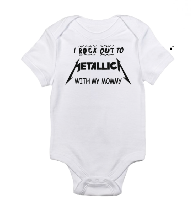 I rock out to Metallica with my Mommy baby bodysuit-baby bodysuit onesie-DiamondsKT