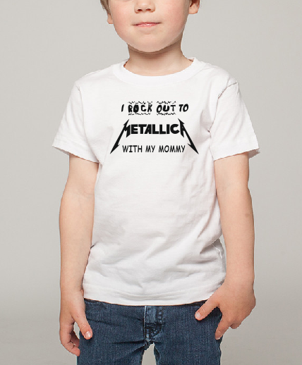 I rock out to Metallica with my Mommy Kids Boy Girl Baby cotton t shirt-Kids T shirts-DiamondsKT