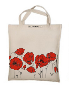 Poppy flowers reusable shopping bag-shopping bags-DiamondsKT